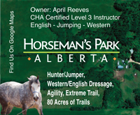 Horseman's Park Alberta English Western Lessons Clinics Training Trail Riding Agility Extreme Trail April Reeves